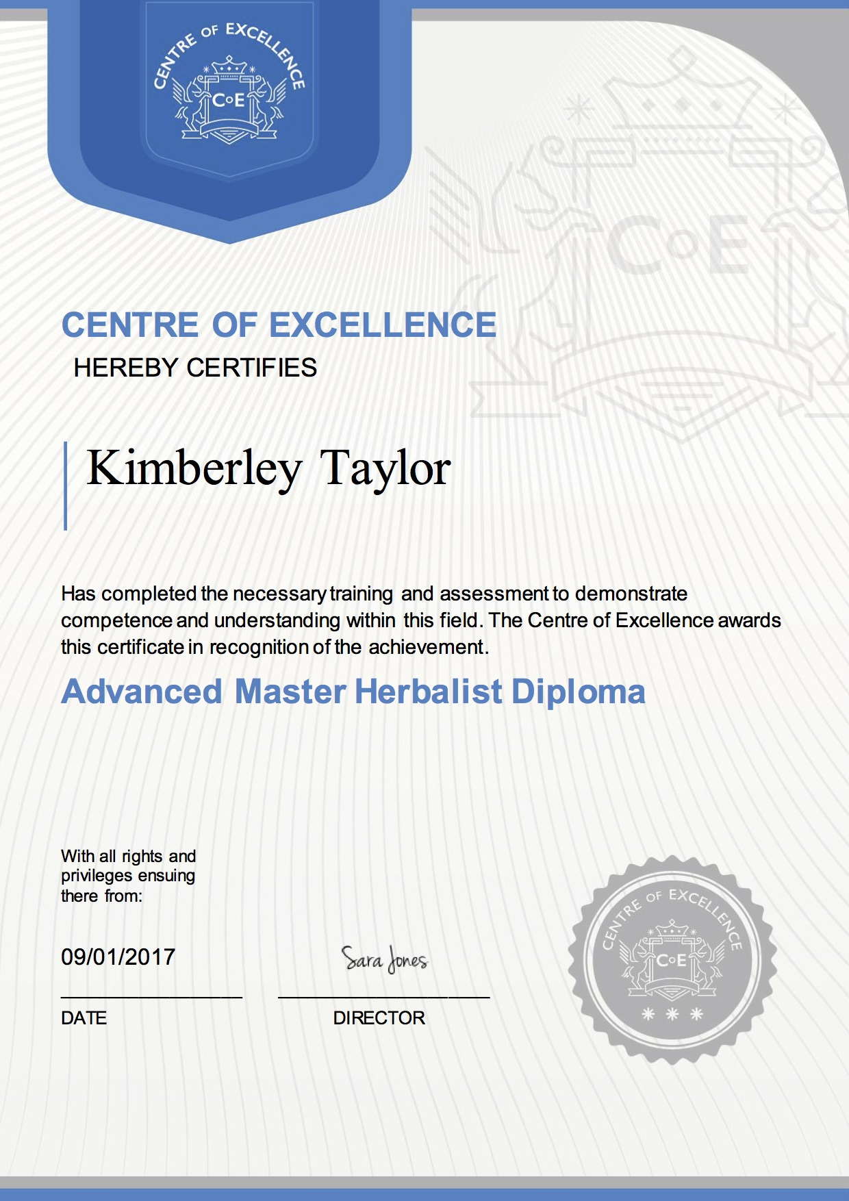 Advanced Master Herbalist Diploma Kimberley Taylor