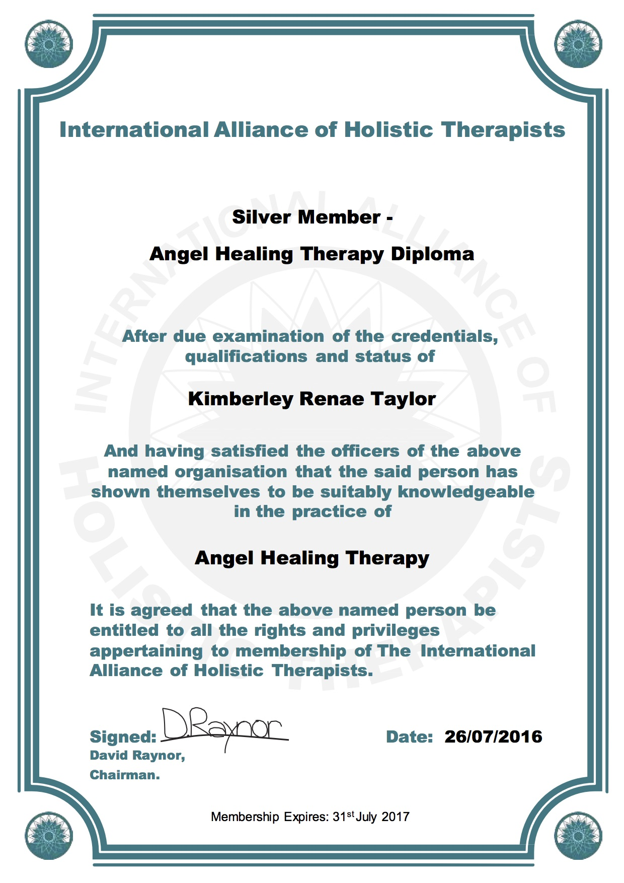 IAHT Silver Member Angel Healing Therapy Diploma Kimberley Renae Taylor