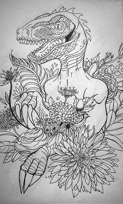Raptor Bouquet Illustration
