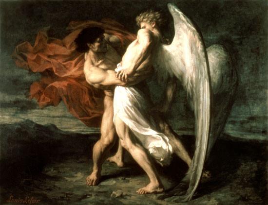 "Alexander Louis Leloir, ""Jacob Wrestling with the Angel"""