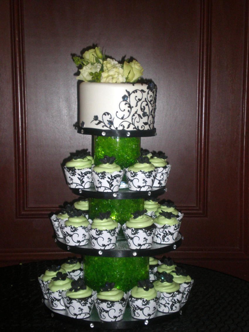 Green and Black Cupcake Display