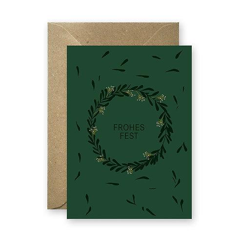 Postkarte - Frohes Fest tannengrün
