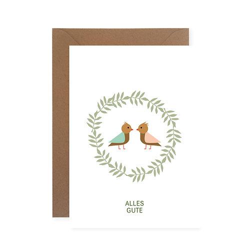 "Postkarte - Vöglein ""Alles Gute"""