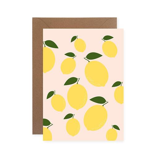 Postkarte - Zitronenmuster