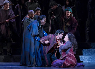 Dancairo with Micäela (Jeanine De Bique), Don José (Harold Meers), Carmen (Leann Sandel-Pantaleo)