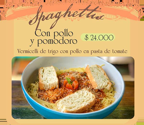 Spaghetti Vermicelli de trigo con pollo en pasta de tomate