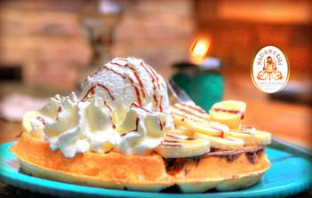 Waffle de banano nutella