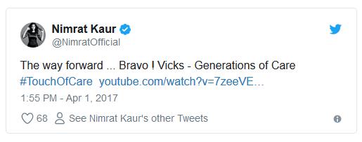 Celebrity appreciating Vicks India ad