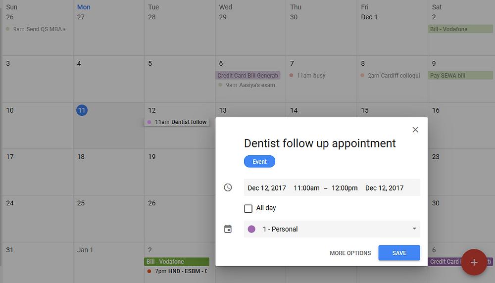 Adding follow up event in google calendar