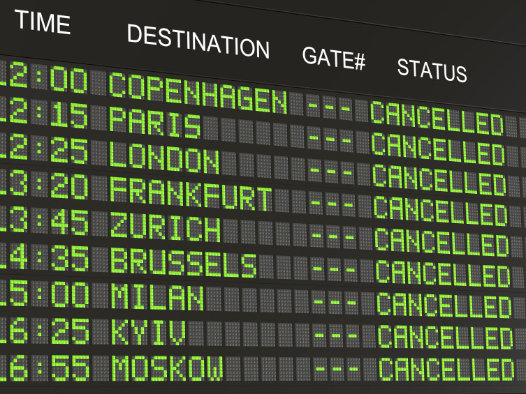 Cancelled flight at Cairo airport