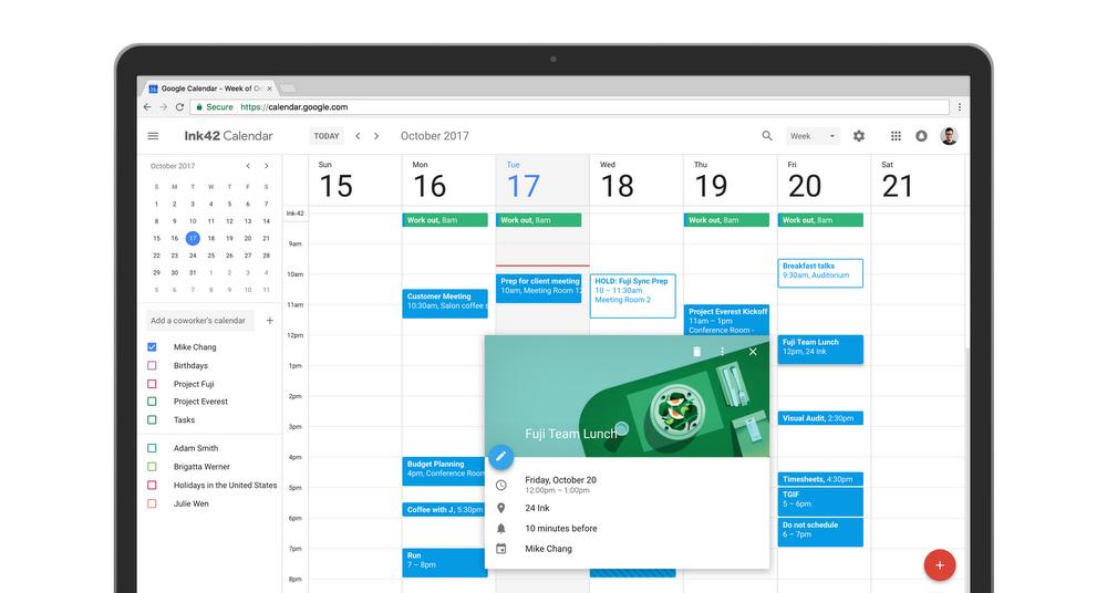 Google calendar updates