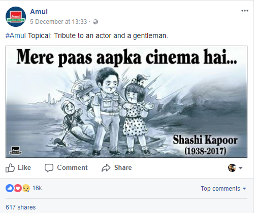 Amul ad on facebook