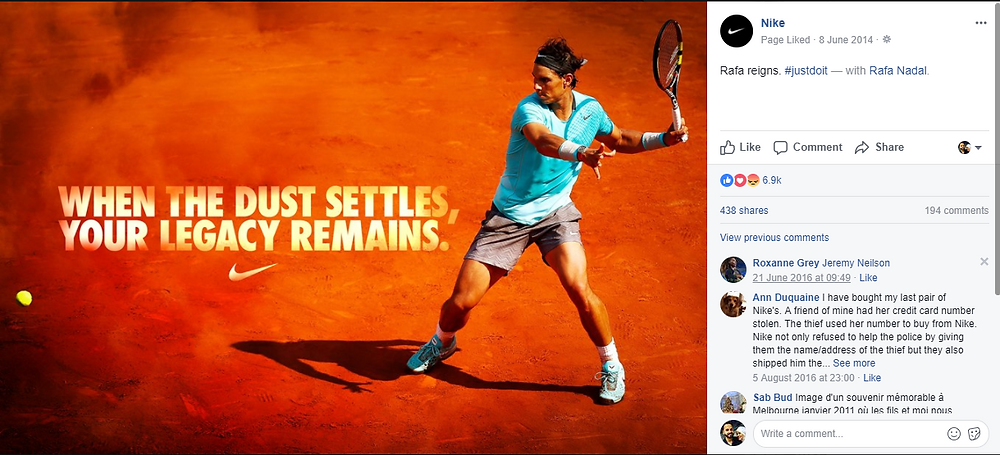 Nike's engagement on facebook