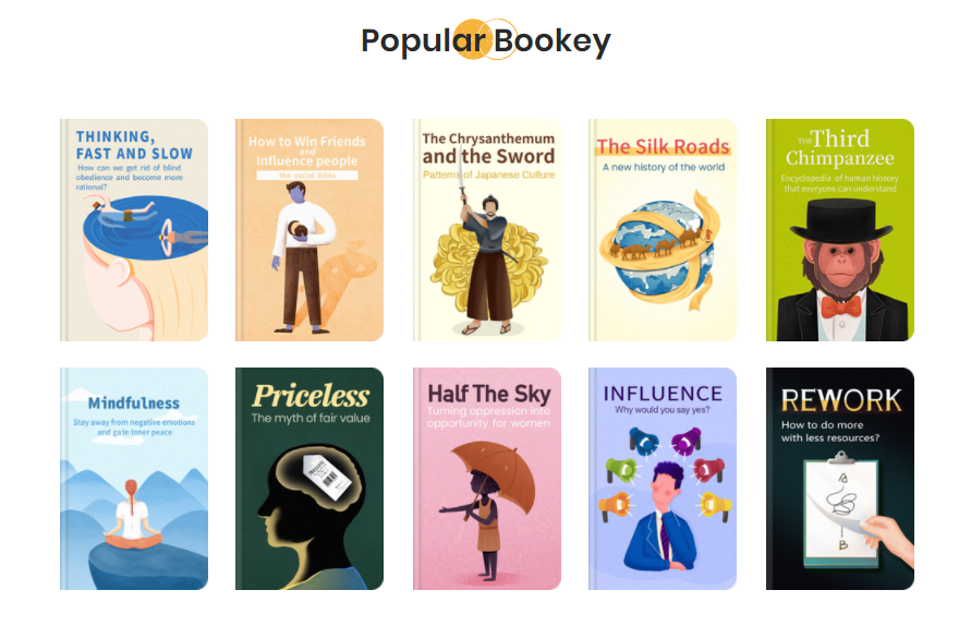 Various book categories offered by Bookey summary app