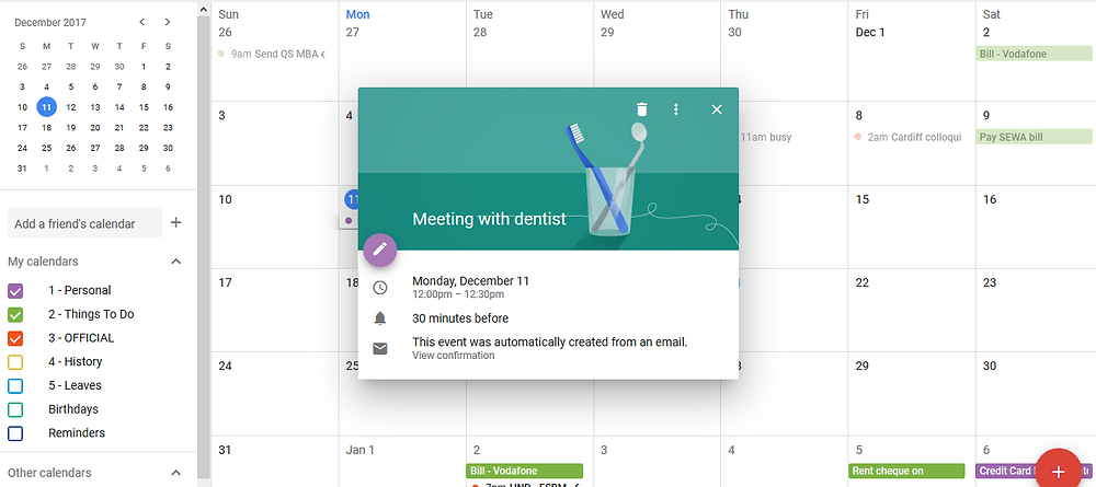 setup Meeting in google calendar