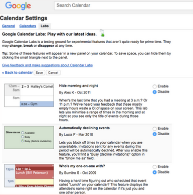 Labs not available in new Google Calendar