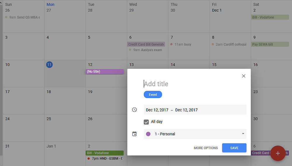 Add an event in calendar