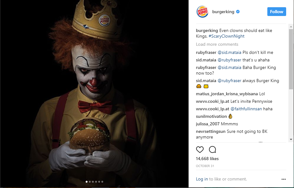 Burger King trolling McDonald over IT movie