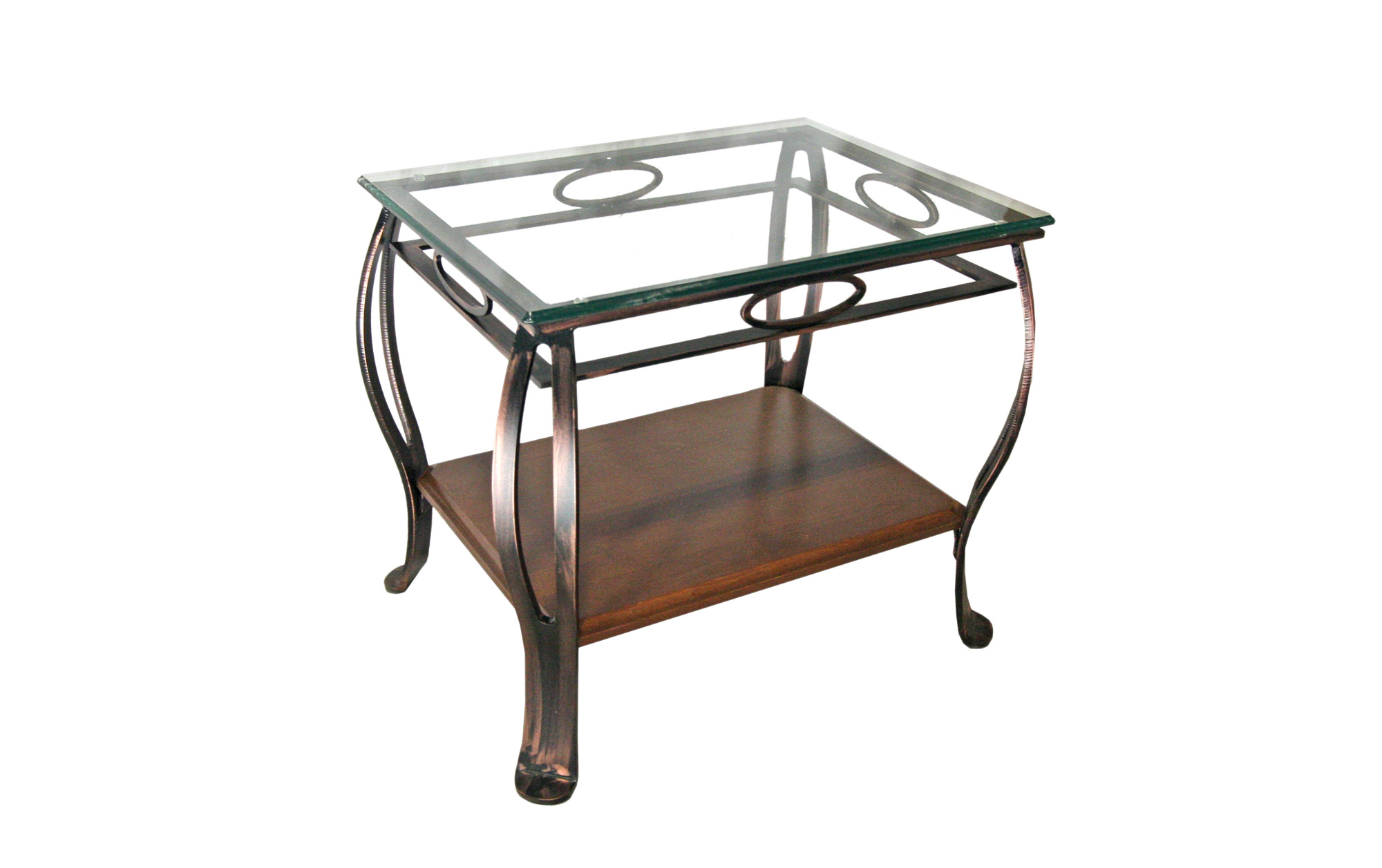 END TABLE GLASS WITH SHELF