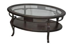 TABLE BASSE VERRE ET MERISIER