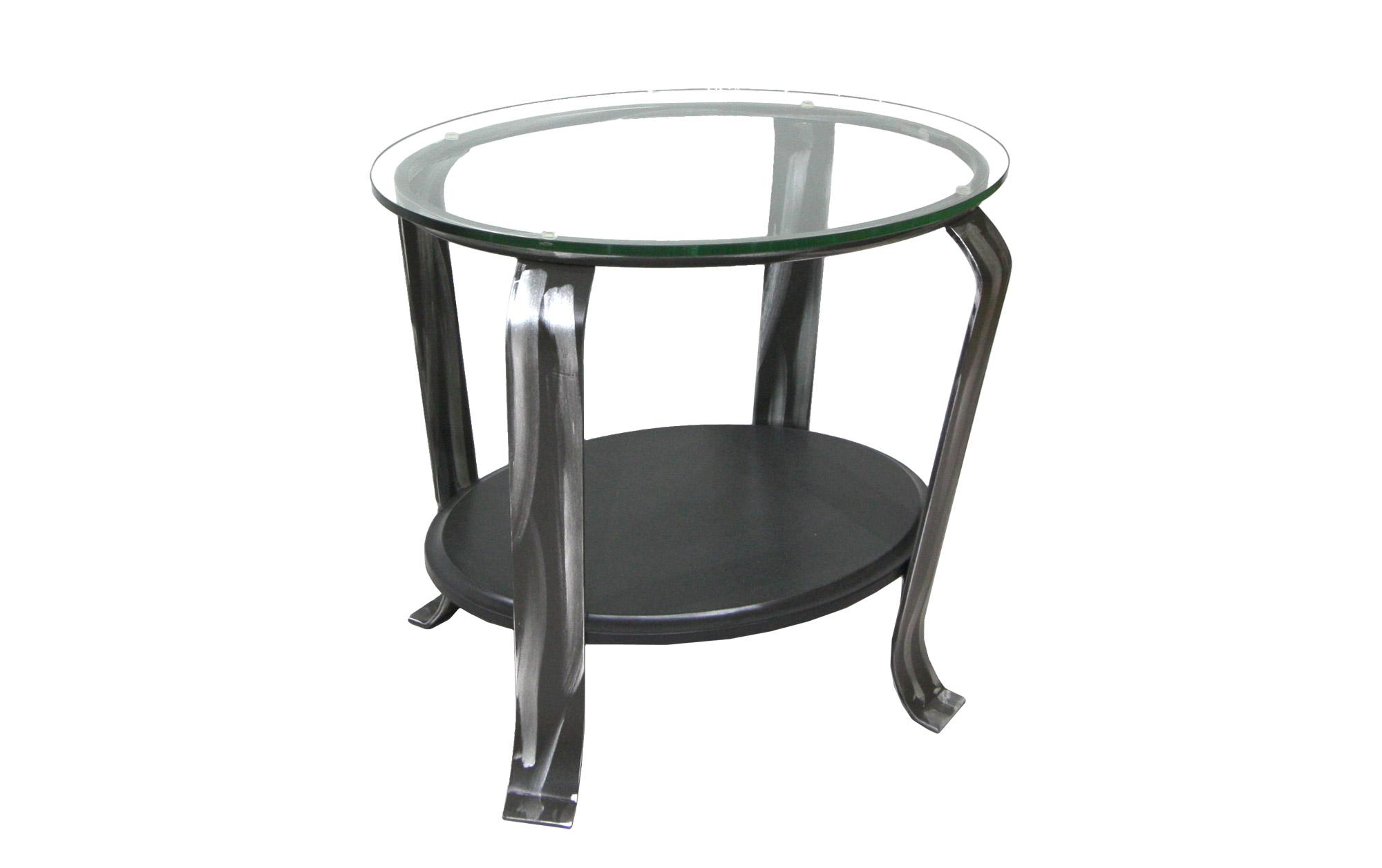 TABLE DE BOUT VERRE AVEC TABLETTE