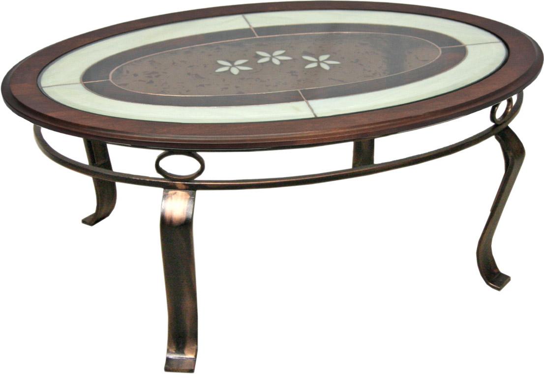 TABLE BASSE VITRAIL ET MERISIER