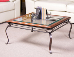 COFFEE TABLE GLASS AND BIRCH