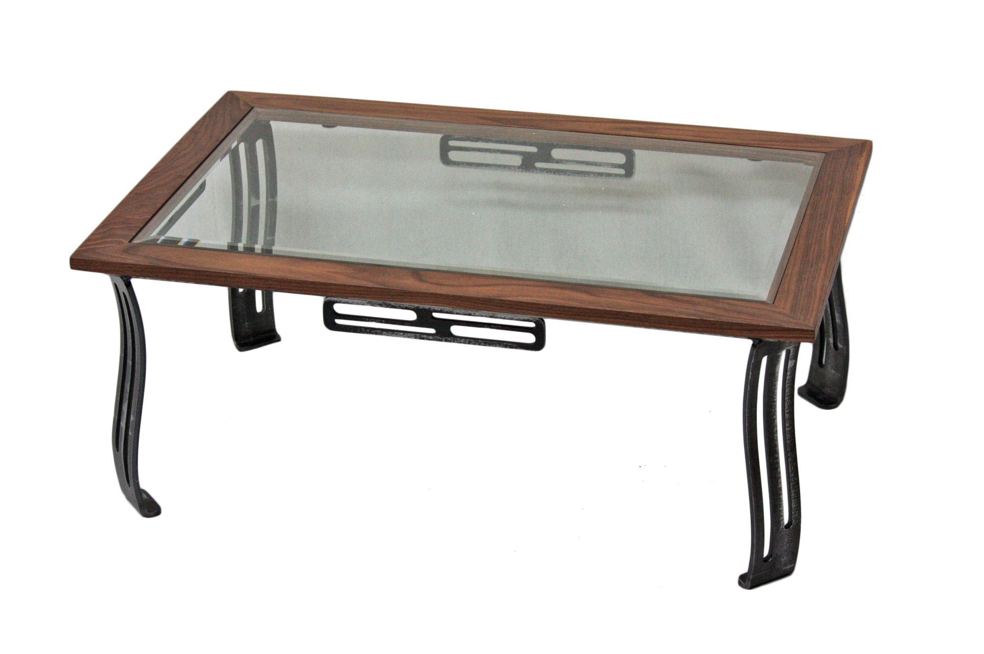 Table de centre Noyer et Verre