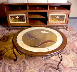 COFFEE TABLE BIRCH STAINED GLASS