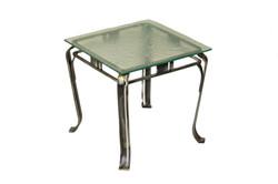 TABLE DE BOUT VERRE FOSSILE
