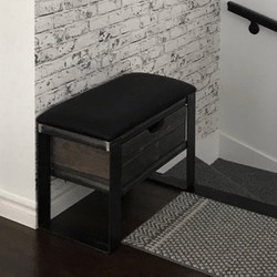 BENCH WITH RECLAIMED WOOD DRAWER