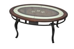 TABLE BASSE MERISIER ET VITRAIL
