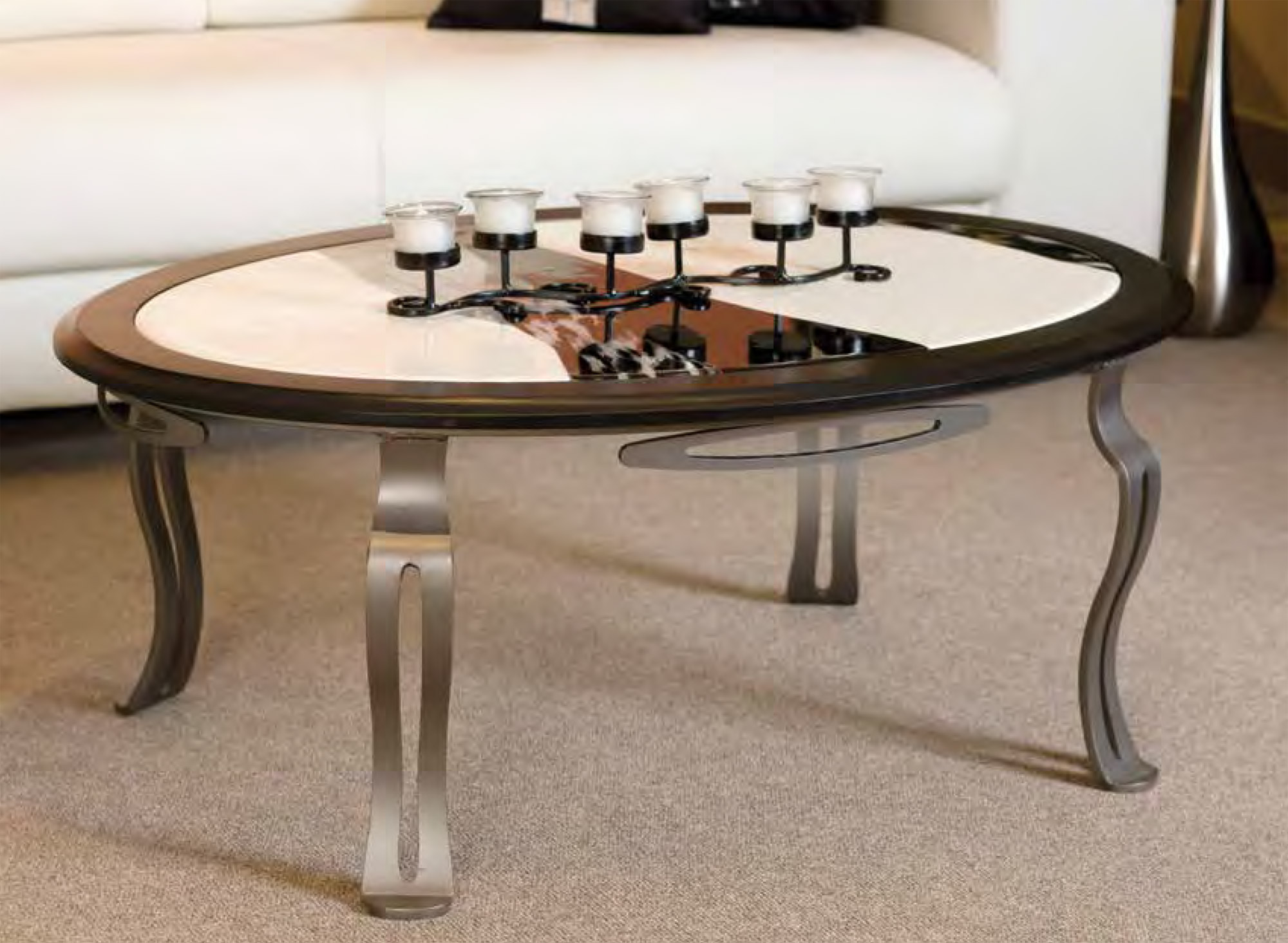 COFFEE TABLE FUSED GLASS AND BIRCH