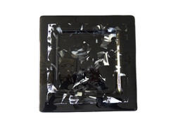 FUSED GLASS PLATE STONE BLACK