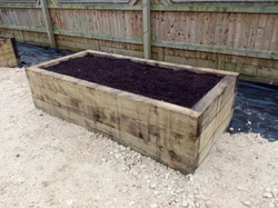 Raised flower bed made from wood