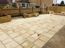 Patio with raised beds