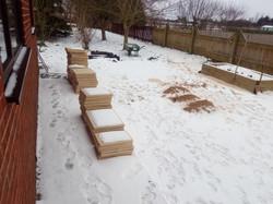 Snow covered patio stones