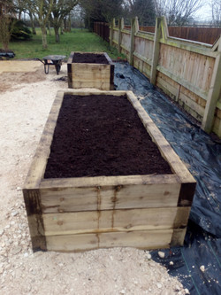 Two flower raised beds