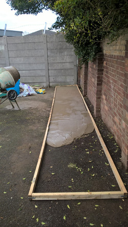 Footpath frame and concrete