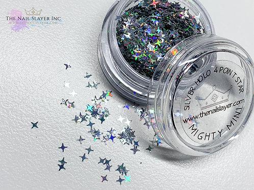 Silver Holo 4 Point Stars