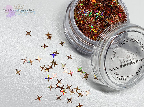 Gold Holo 4 Point Stars
