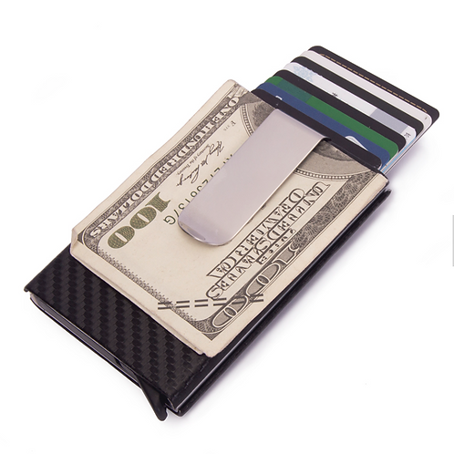 Carbon Fiber RFID Blocking Card Holder w/ Cash Strap