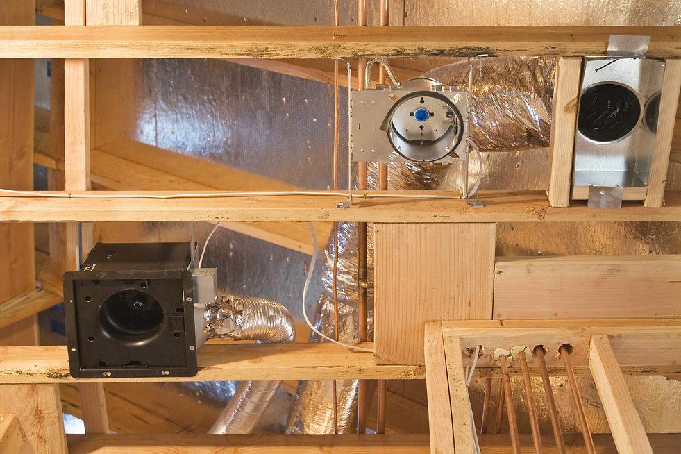 Framework showing the copper plumbing tu
