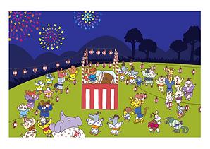 夏祭り 動物イラスト