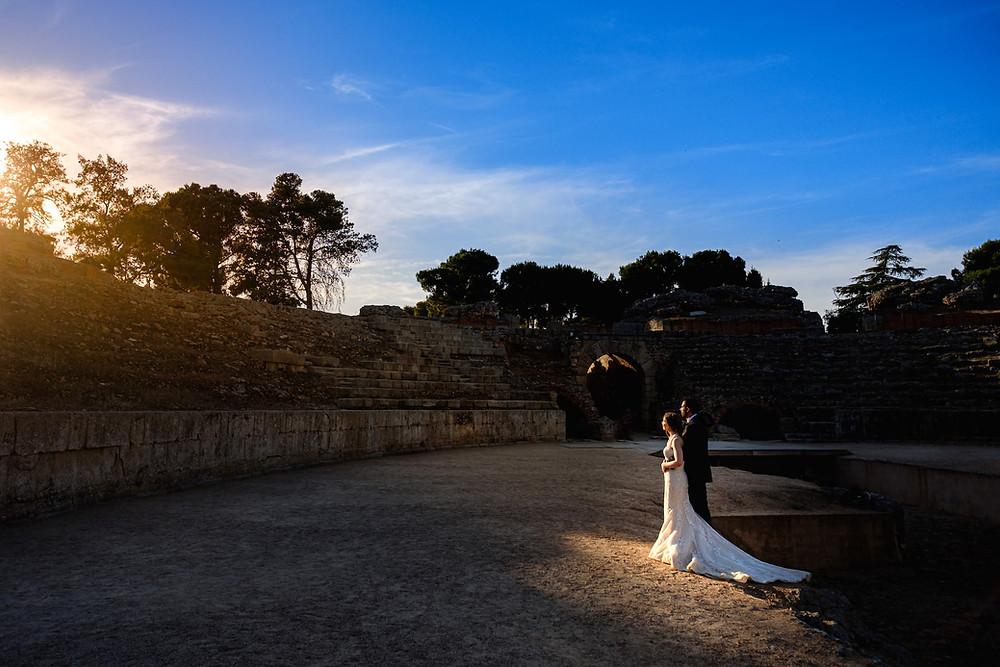 Boda en el teatro romano de Mérida y en el parador por Arteextremeño.