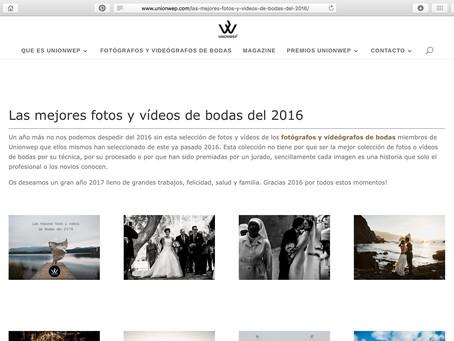 """Artículo en UnionWep: """"Las mejores fotos de bodas del 2016"""""""