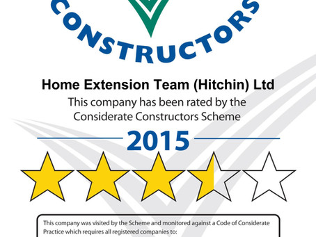 HET Awarded a Star Rating by the Considerate Builders Scheme