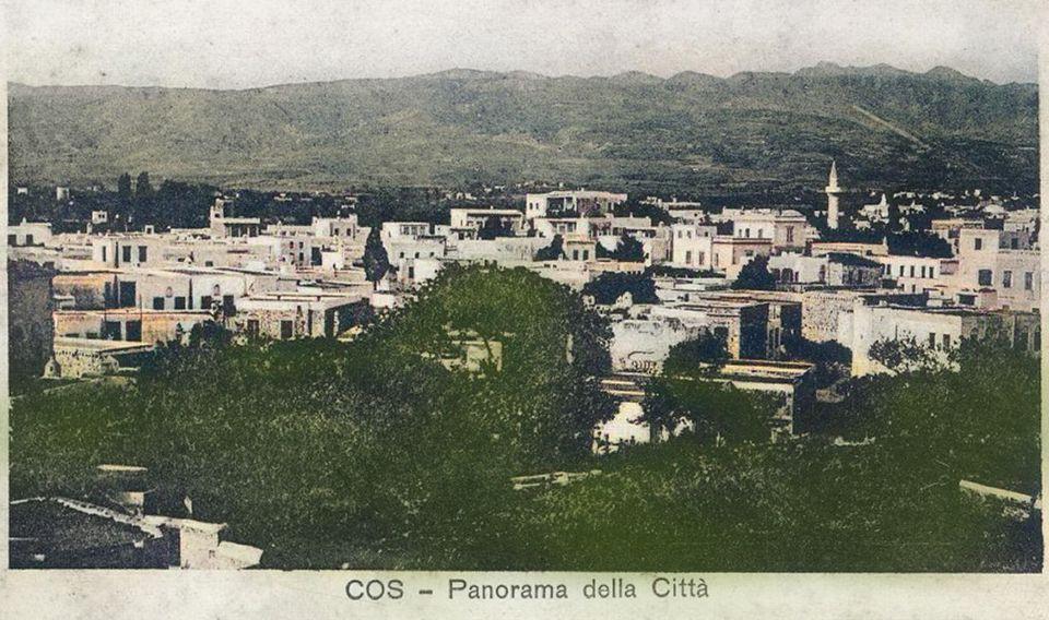 Κως 1912. Καρτ ποστάλ με την προσεισμική Κω.