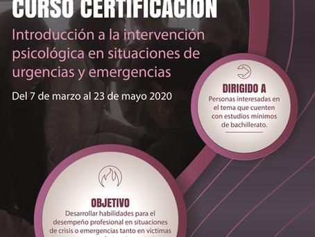 INVITACIÓN | Curso-Certificación: Introducción a la intervención psicológica de urgencias-emergencia