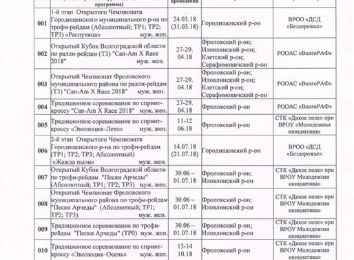 Опубликован Календарный план спортивных мероприятий ВолгоРАФ на 2018 год